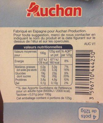 Crème dessert chocolat sans lactose - Informations nutritionnelles