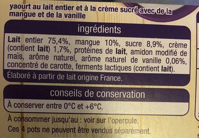 Yaourt cremeux mangue vanille - Ingrediënten - fr