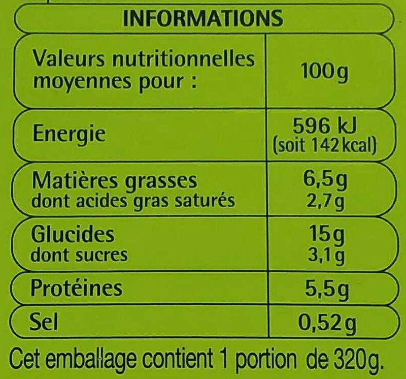 Lasagne a la bolognaise - Informations nutritionnelles - fr