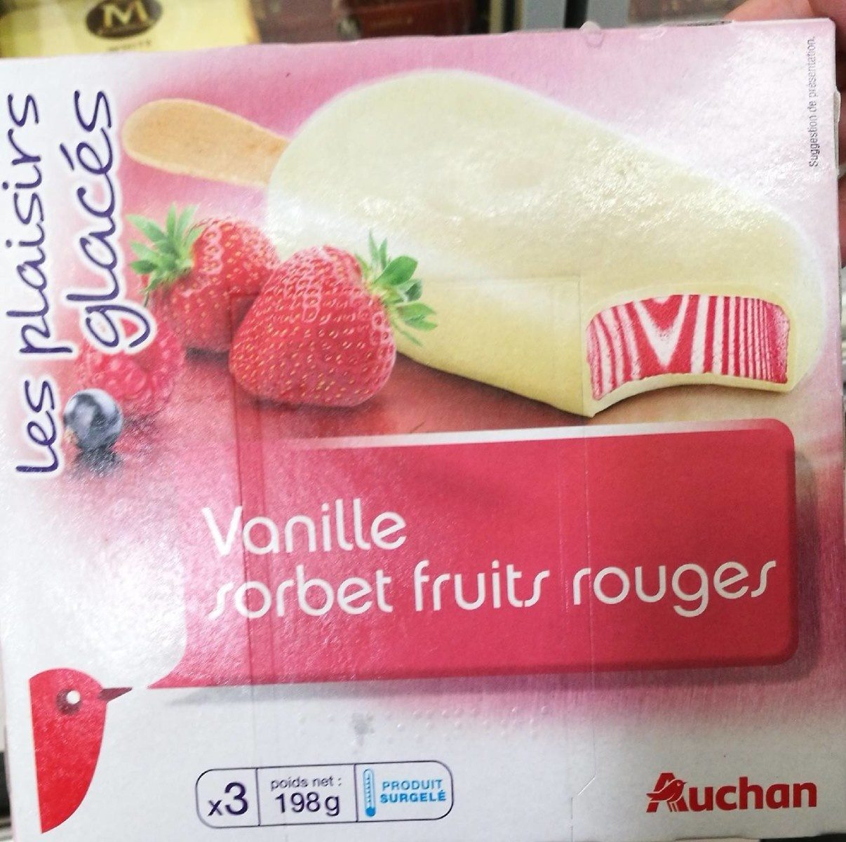 AUCHAN - Glace vanille sorbet fruits rouge - Product