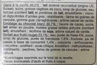 AUCHAN - Glace vanille sorbet fruits rouge - Ingredients