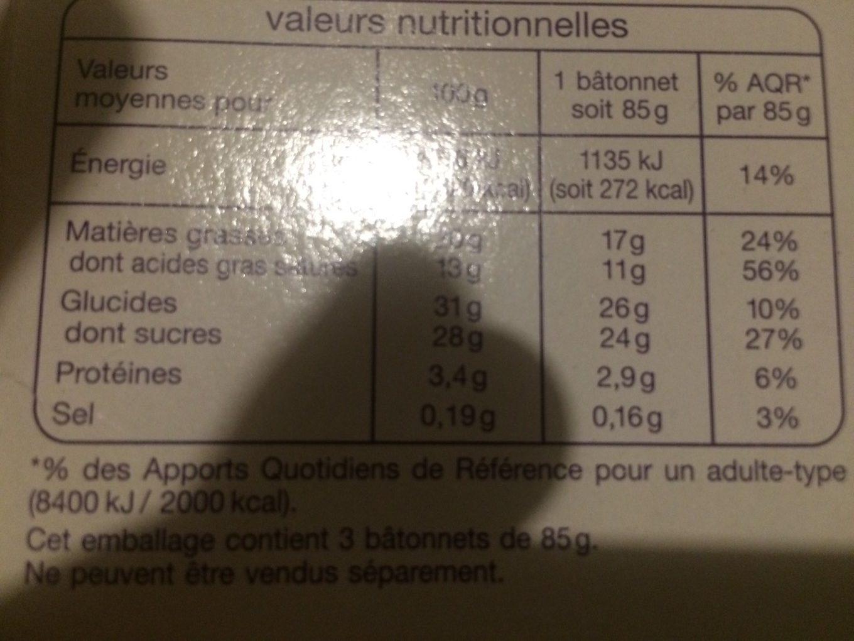 Les Plaisirs Glacés Bâtonnets Vanille Amandes - Nutrition facts