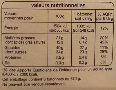 Bâtonnets vanille macadamia les plaisirs glacés x3 - Informations nutritionnelles