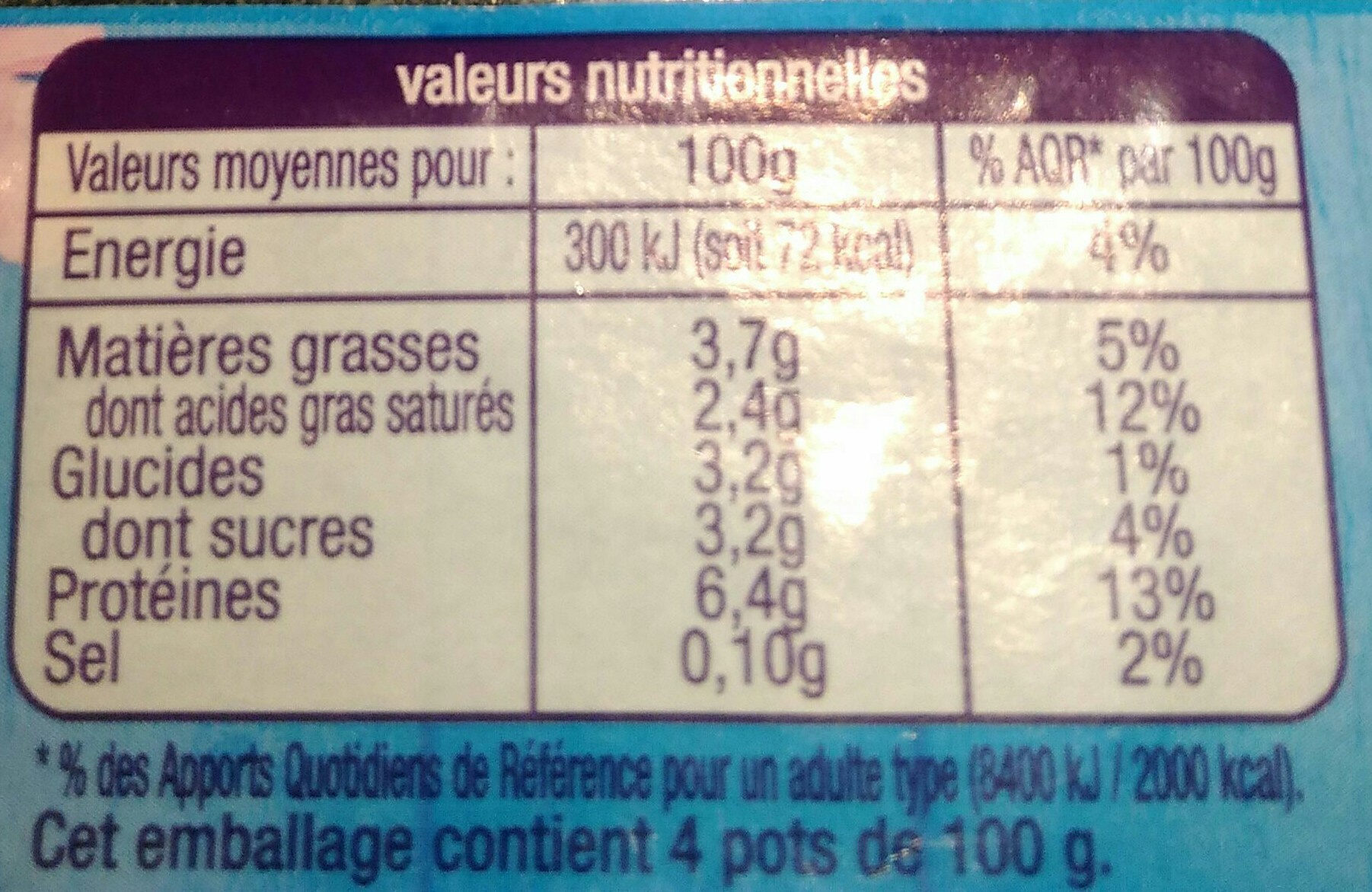 Fromage Blanc - Nutrition facts