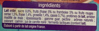 Yaourt les mixés fruits rouges sans morceaux - Ingrédients - fr