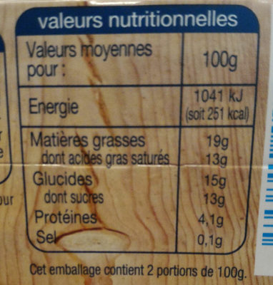 Creme brulee - Nutrition facts
