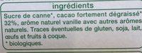 Poudre cacaotée pour petit dejeuner - Ingredients