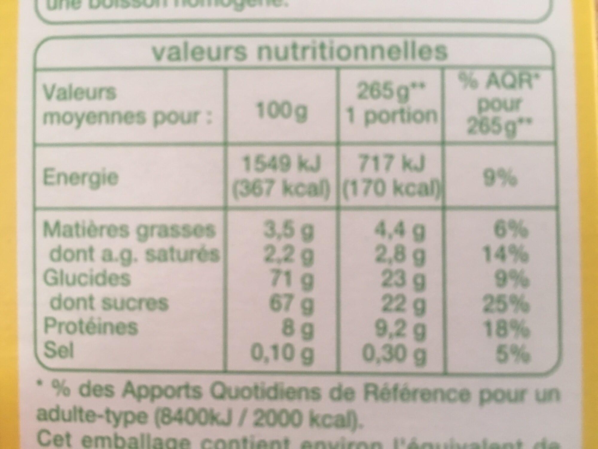 Poudre cacaotée pour petit dejeuner - Nutrition facts