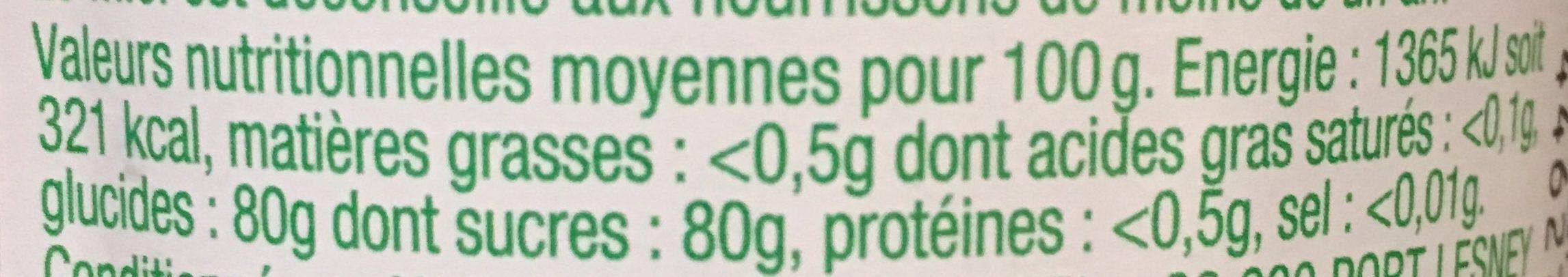 Miel cremeux - Información nutricional