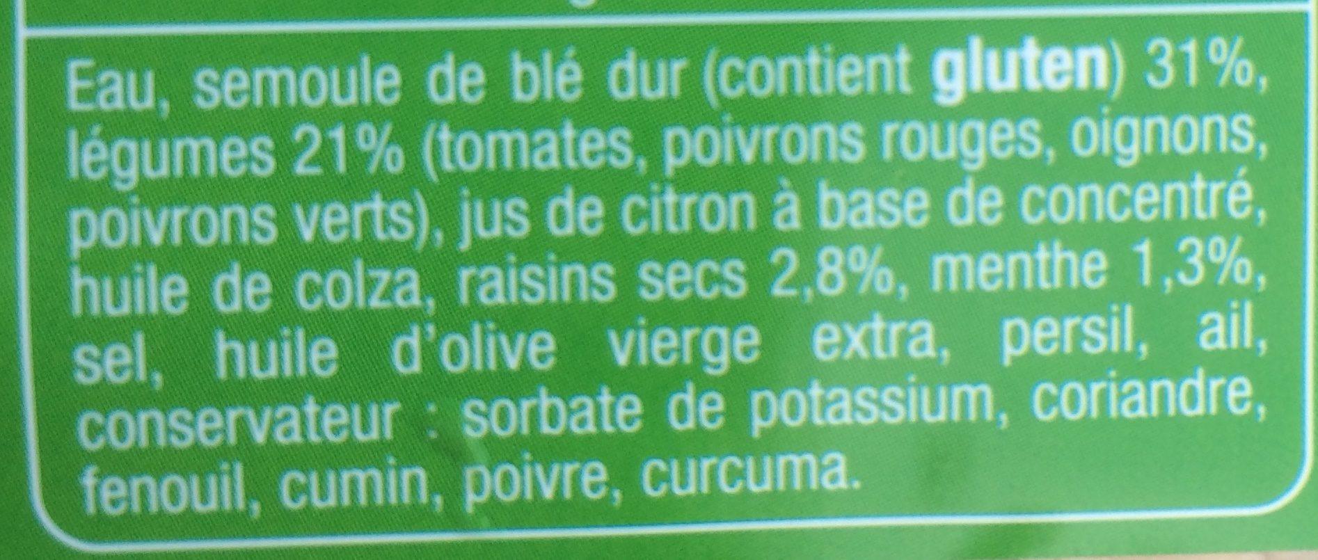 Taboulé oriental - Ingredients