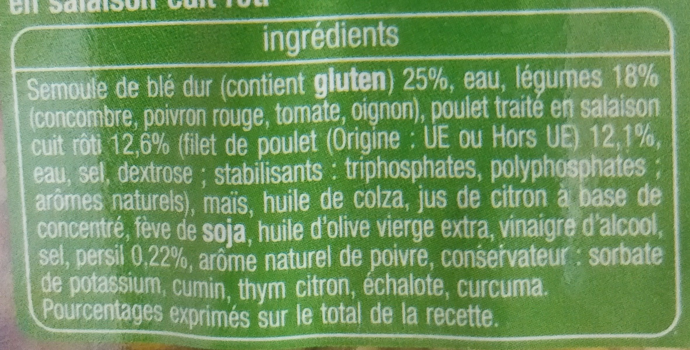 Taboulé poulet - Ingrediënten - fr