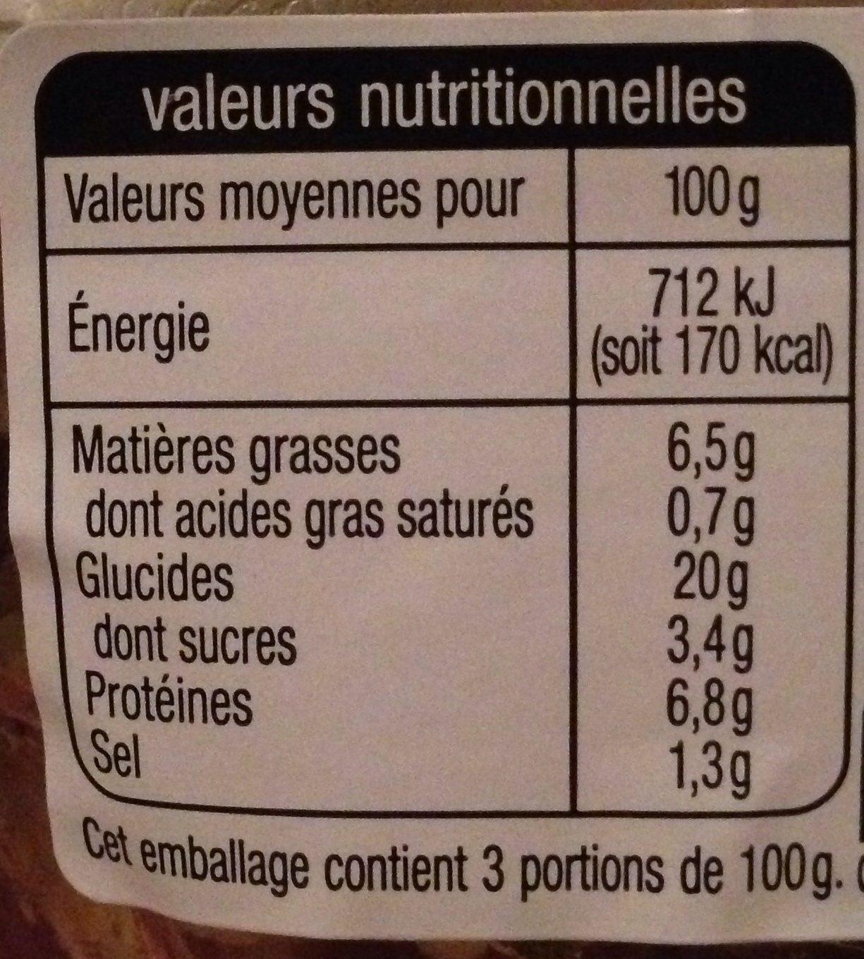 Taboulé poulet - Voedingswaarden - fr