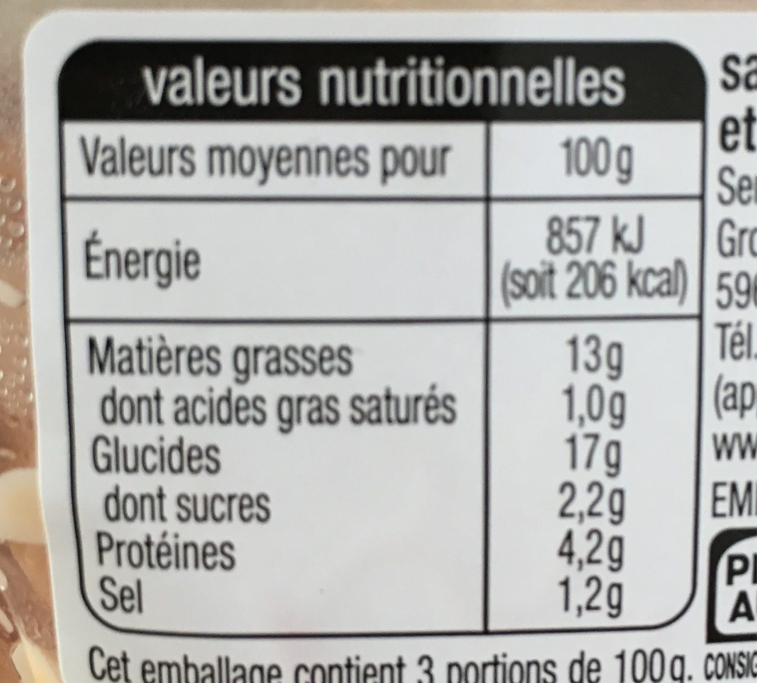 Salade Marco Polo - Informations nutritionnelles
