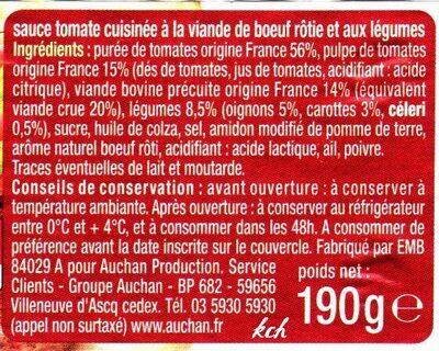 Sauce tomate bolognaise - Ingrédients