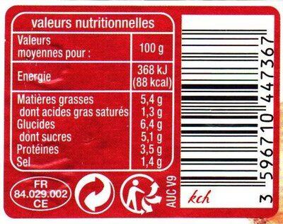 Sauce tomate bolognaise - Informations nutritionnelles