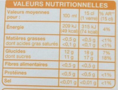 Jus d'ananas multifruits - Informations nutritionnelles - fr