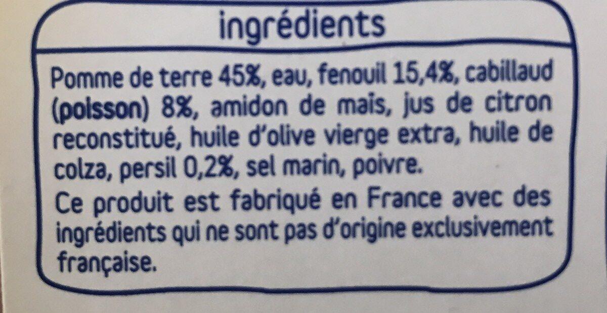 Pomme de terre, fenouil et cabillaud, touche de persil - Ingrediënten