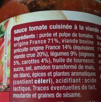 Sauce tomate bolognaise - Ingrédients - fr