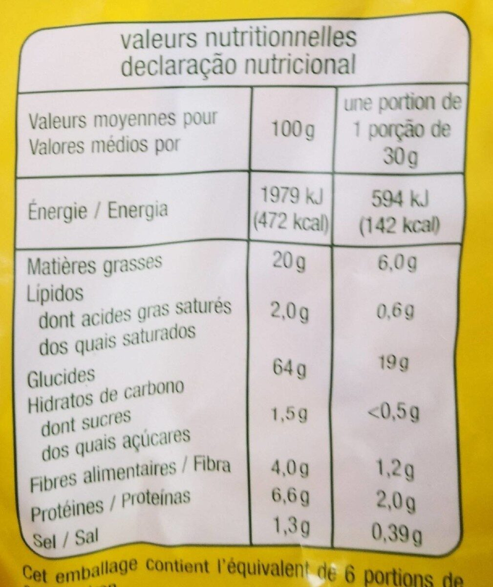 Tortillas chips fromage - Informations nutritionnelles - fr