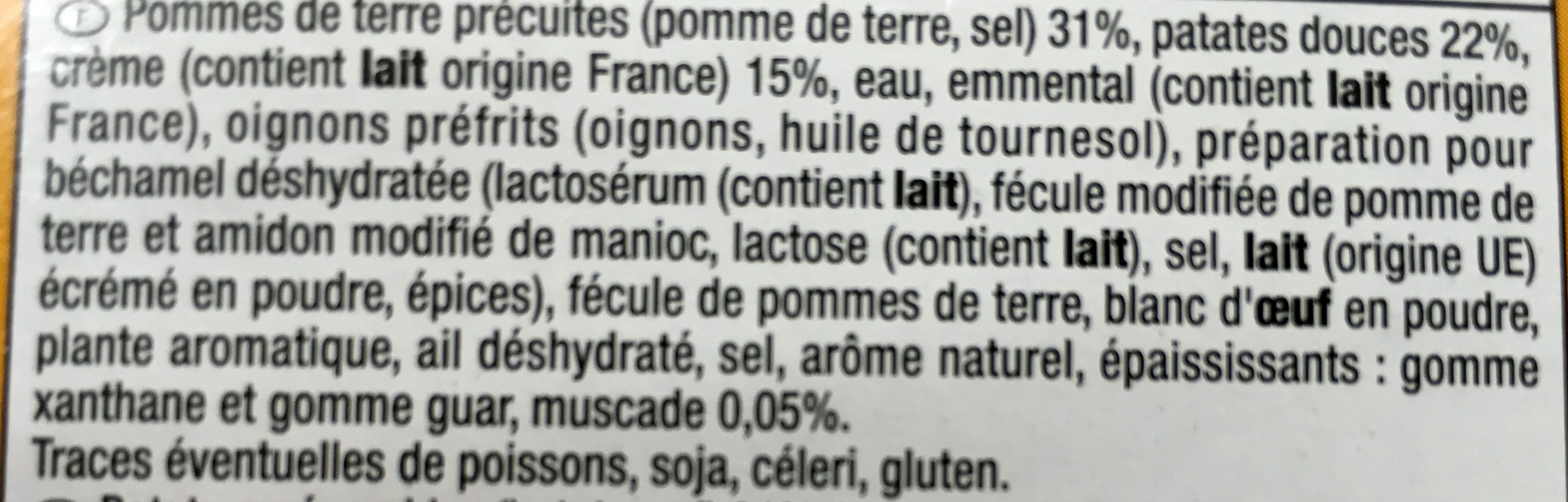 Mini gratins pomme de terre patate douce - Ingrédients - fr