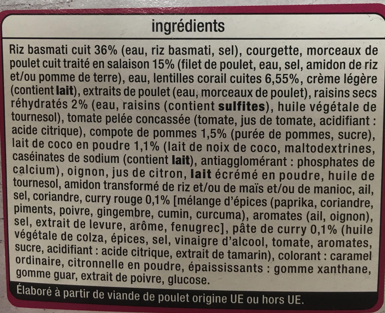 Poulet a l'indienne riz basmati et lentilles - Ingrediënten