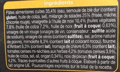 Pause Snack Pates et salade 3 fromage - Ingrédients - fr