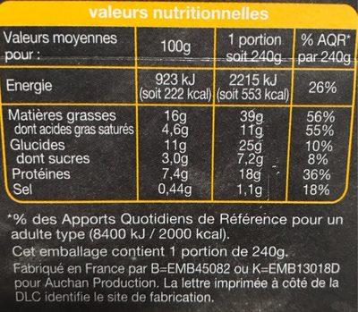 Pause Snack Pates et salade 3 fromage - Informations nutritionnelles - fr