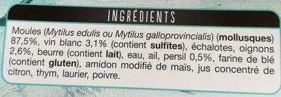 Les moules à la marinière - Ingrédients