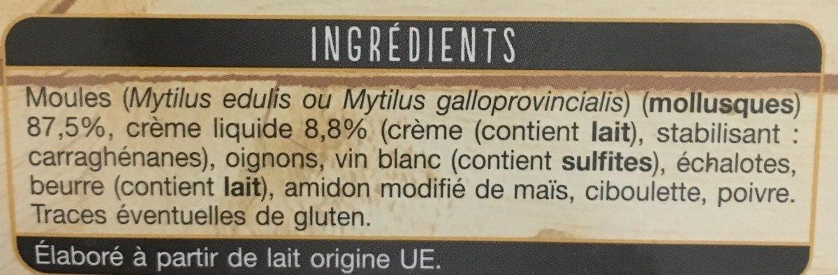 Les moules cuisinées à la crème - Ingrédients