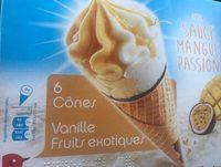 6 cônes vanille, fruits exotiques avec sauce mangue passion - Product