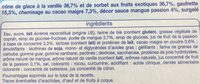 6 cônes vanille, fruits exotiques avec sauce mangue passion - Ingredients