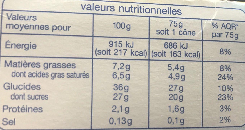 6 cônes vanille, fruits exotiques avec sauce mangue passion - Nutrition facts
