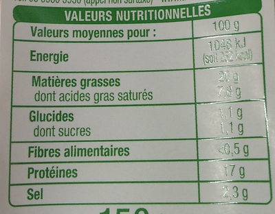 Allumettes fumés - Nutrition facts