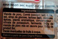 Saucisson sec tranché - Ingredients
