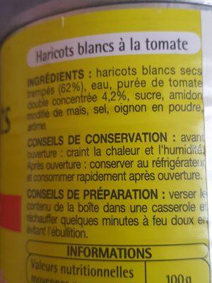 Haricots blancs à la tomate - Ingrédients - fr