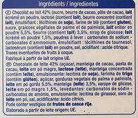 Petit beurre coeur de lait chocolat au lait - Ingrédients - fr