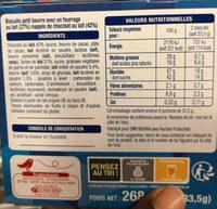 Petit beurre coeur de lait chocolat au lait - Informations nutritionnelles - fr