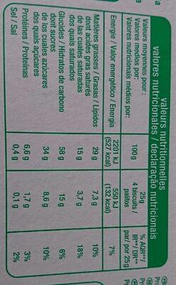 Bâtonnets chocolat au lait - Informations nutritionnelles - fr