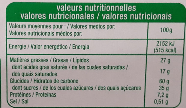 Petit beurre avec tablette de chocolat au lait - Nutrition facts