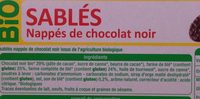 Sablés nappés de chocalat noir - Ingredients - fr