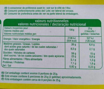 Sablés nappés de chocalat noir - Informació nutricional - fr