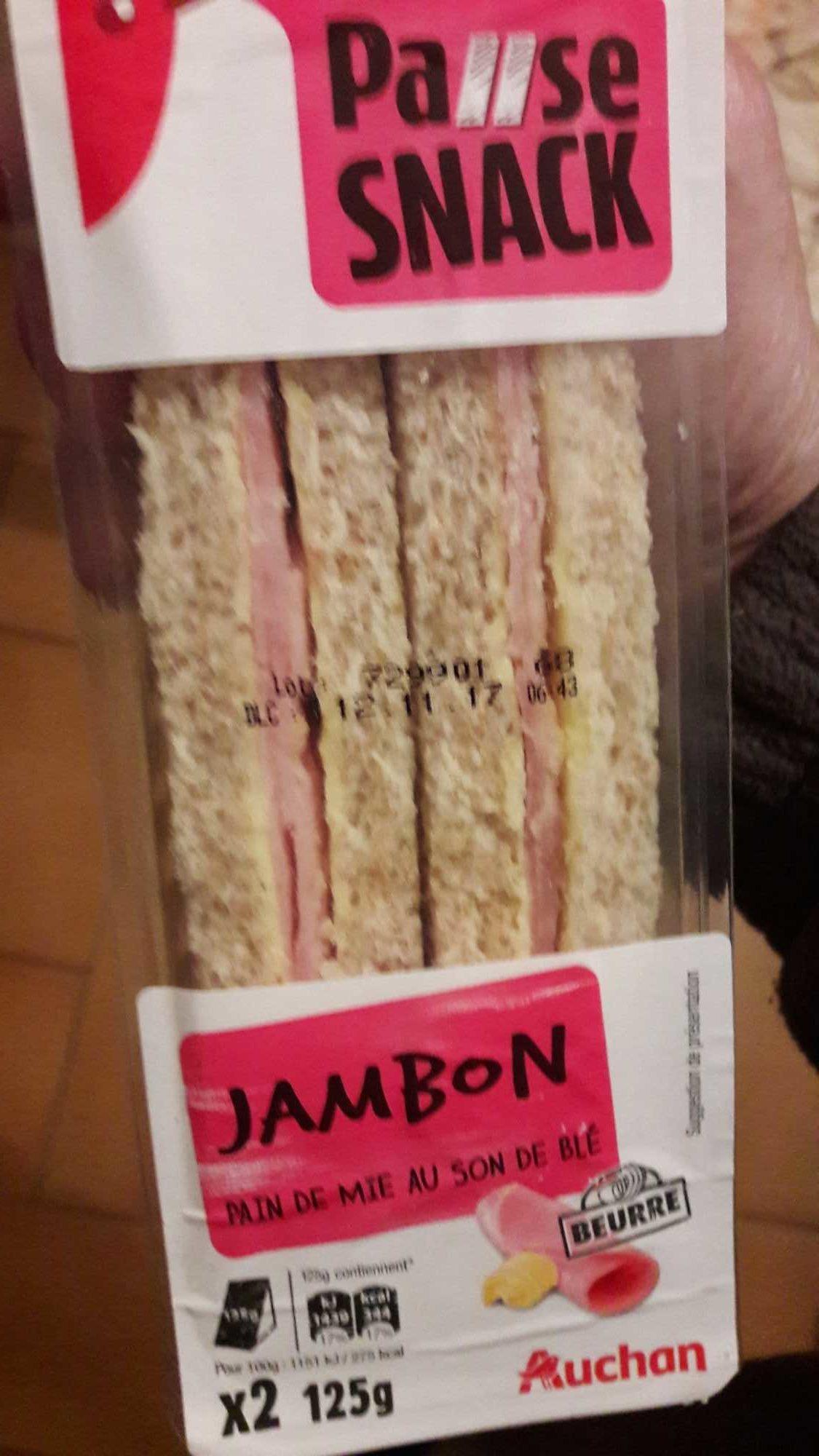 Pause Snack - Sandwich Jambon Beurre Pain de Mie au Son de Blé - Product - fr