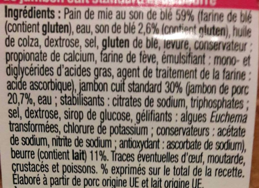 Pause Snack - Sandwich Jambon Beurre Pain de Mie au Son de Blé - Ingrediënten - fr