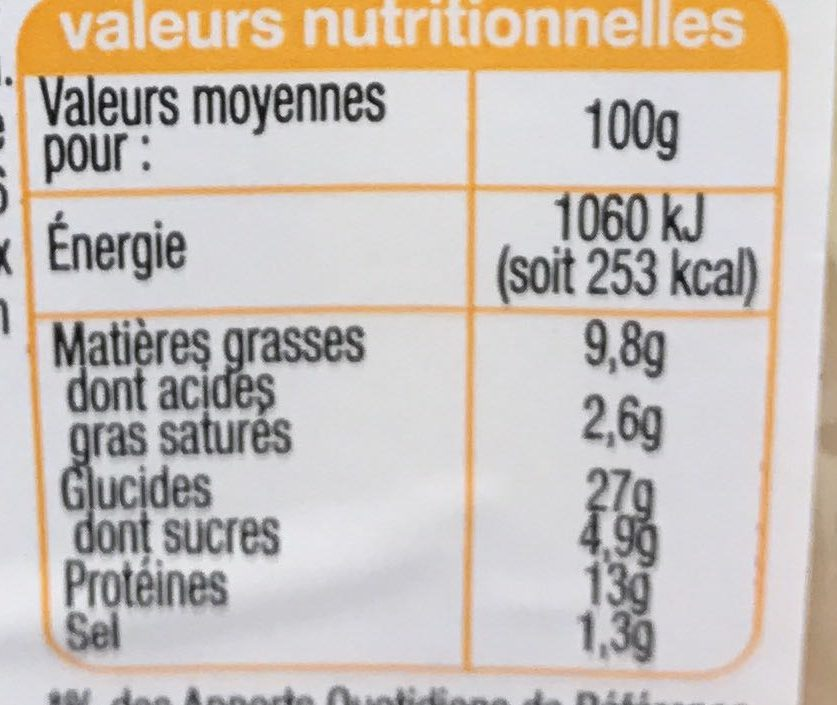 Pause Snack Poulet Fumé Emmental - Voedigswaarden