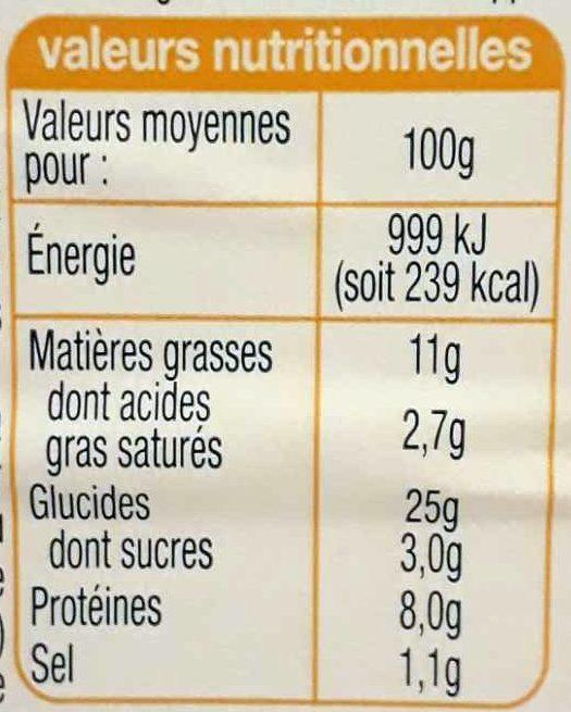 Crudités Œuf Emmental (Pain de mie Complet) - Nutrition facts - fr