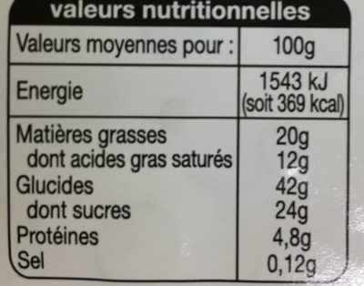 Tarte Zahreddine - Nutrition facts