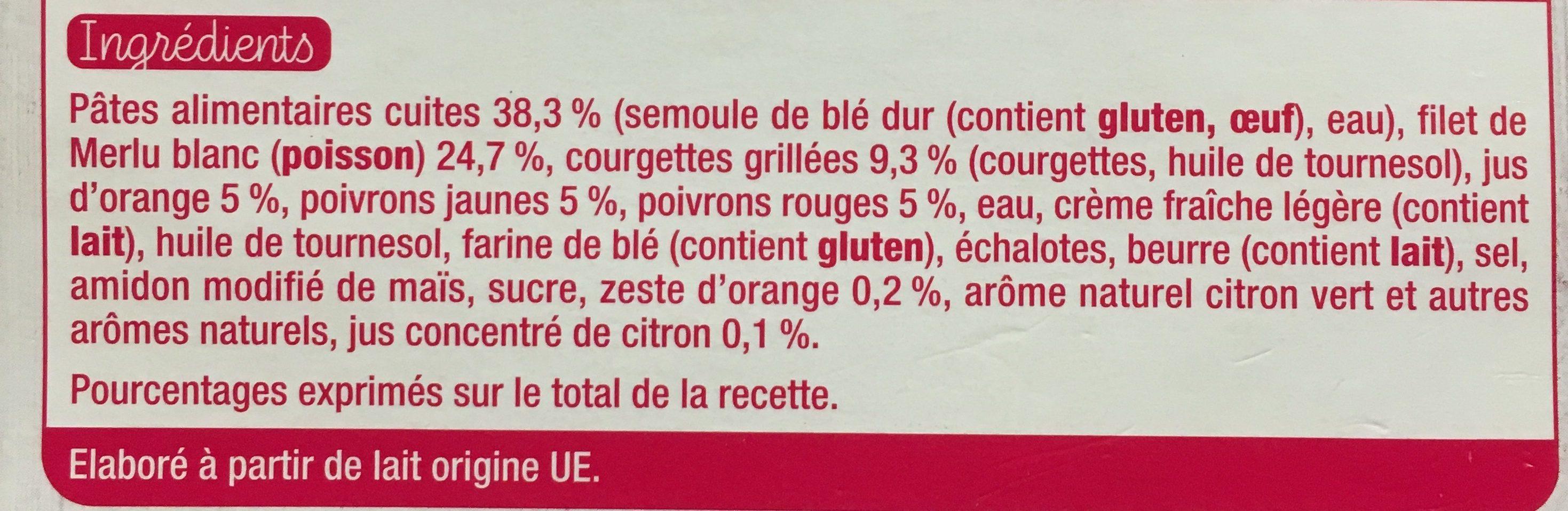 Merlu legumes grilles petites pates - Ingrédients