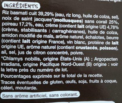 Saint Jacques fondue de poireaux et riz basmati - Ingrédients - fr