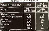 Saint Jacques fondue de poireaux et riz basmati - Informations nutritionnelles - fr