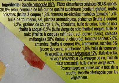 Pause snack veggie pâtes perles et salade graines et fruits secs - Ingrédients - fr